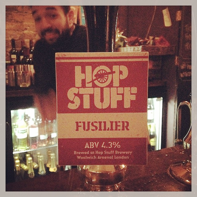 As shown by the lovely Benji, we have @hopstuffbrewery 's Fusilier at 4.3% fresh on the pumps!