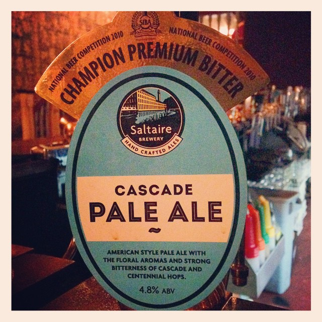 Saltaire Brewery Cascade Pale Ale at 4.8% brewed with Cascade and Centennial hops.