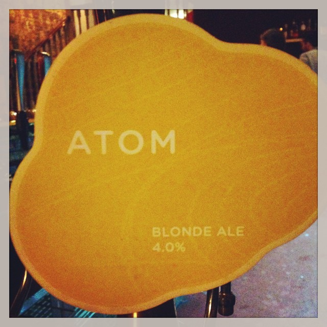 Now pouring: Atom Blonde Ale at 4%