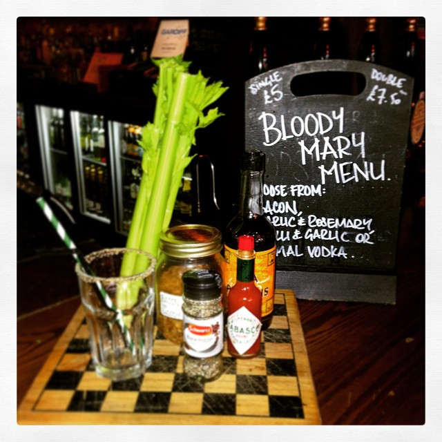 Bloody Mary's single shot £5 double £7.50 - oh yeah! PLUS our homemade flavoured vodkas; Bacon, Garlic & Rosemary and Chilli & Garlic... Mmm yes please!